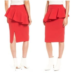 Halogen ruffle detail pencil skirt in red